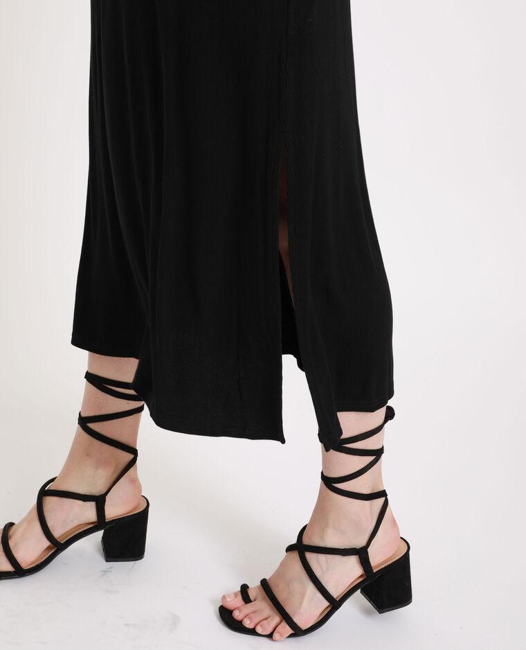 Robe longue côtelée noir