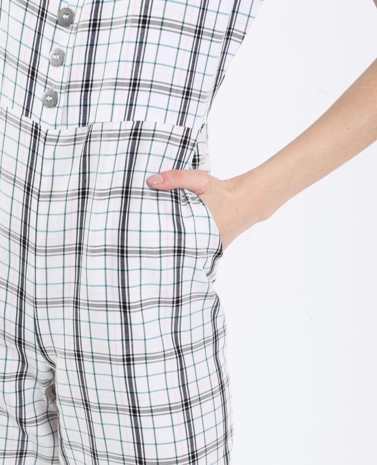 Combi-pantalon à carreaux blanc