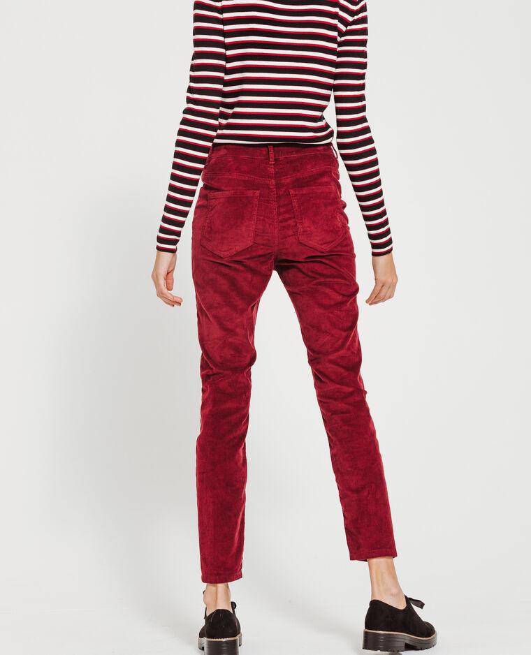 Pantalon skinny velours bordeaux