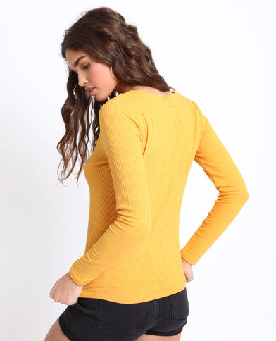 6ac1163648f T-shirt en maille cotelée jaune