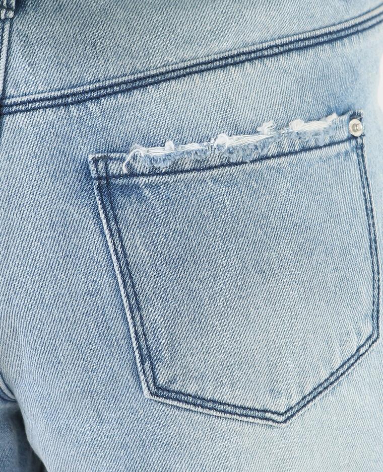 Short en jean destroy brodé bleu denim - Pimkie