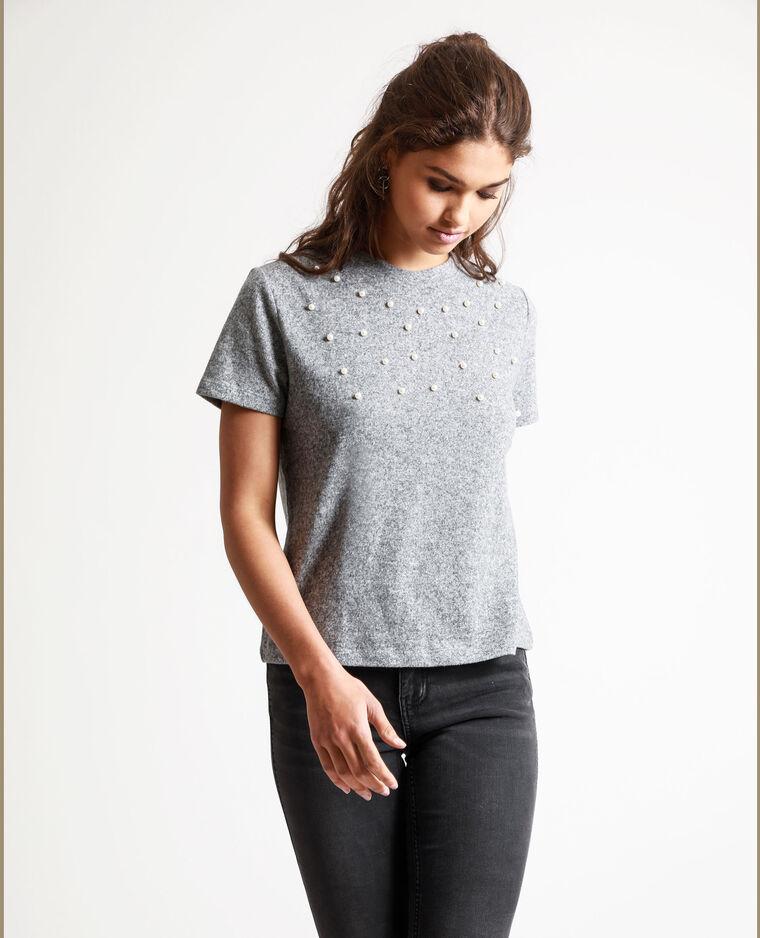 T-shirt à perles gris chiné - Pimkie