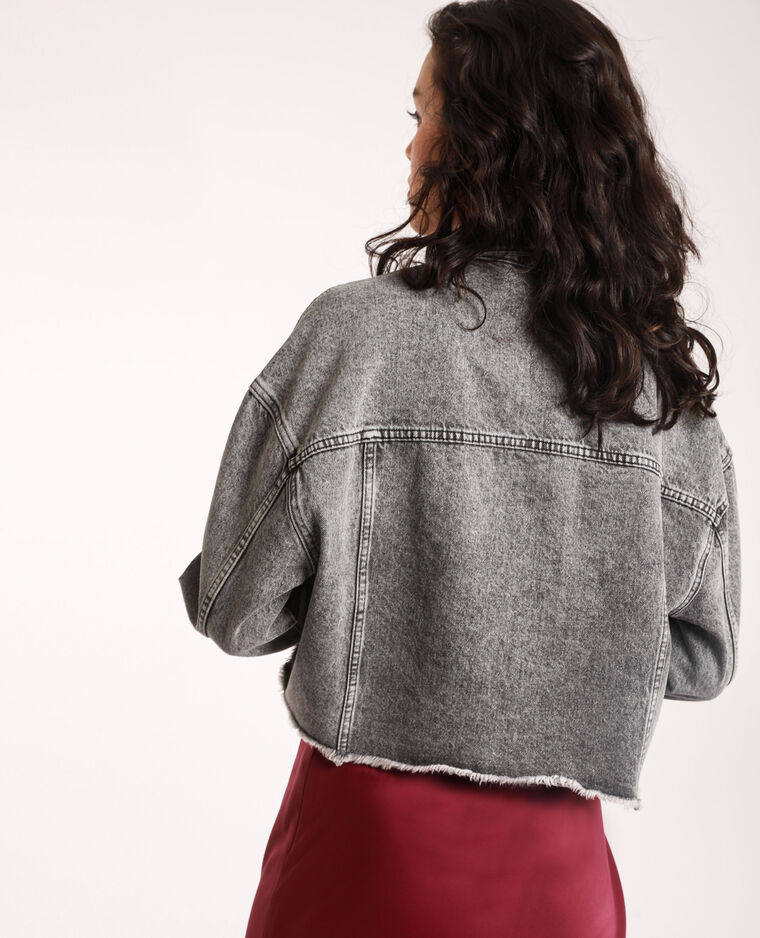 Veste en jean courte gris délavé - Pimkie