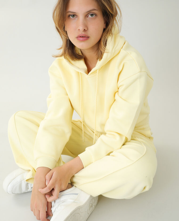 Sweat à capuche molleton jaune pâle