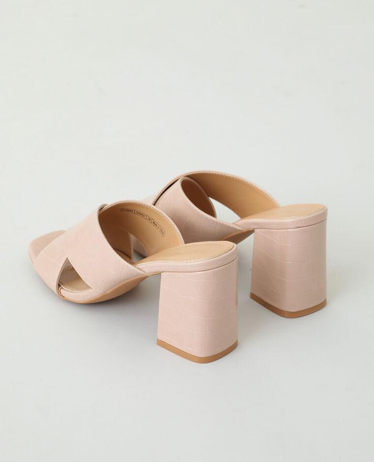 Mules à talons effet croco rose nude - Pimkie
