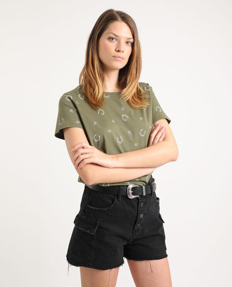 T-shirt imprimé kaki