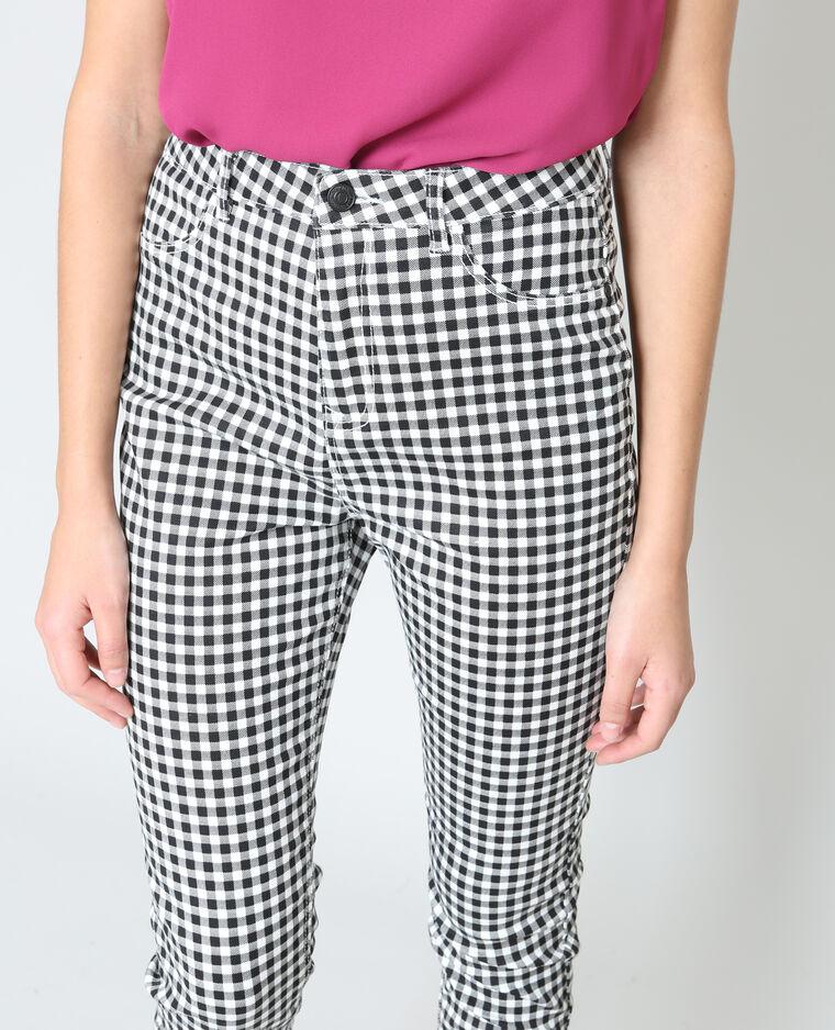 Pantalon skinny vichy blanc