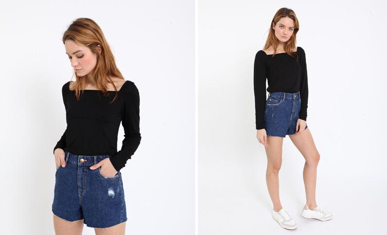 T-shirt col carré noir
