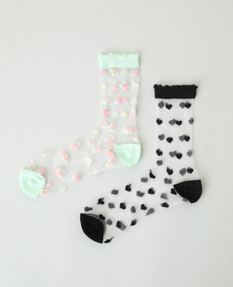 Lot de 2 paires de chaussettes transparentes noir - Pimkie