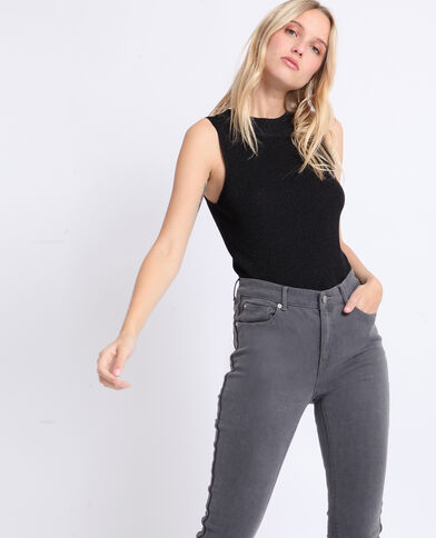 Cropped top sans manches noir