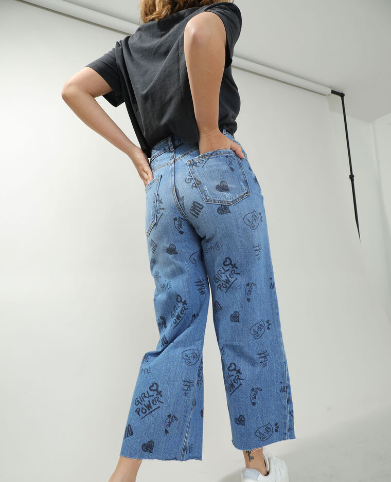Jean wide leg high waist à écritures bleu denim - Pimkie