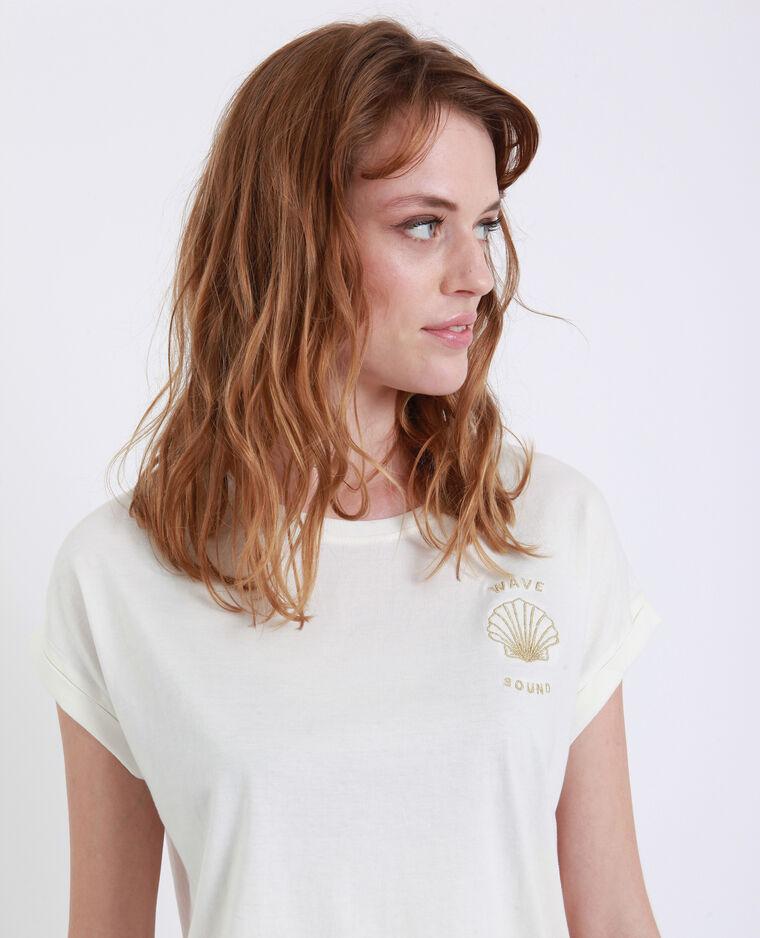 T-shirt coquillage blanc cassé