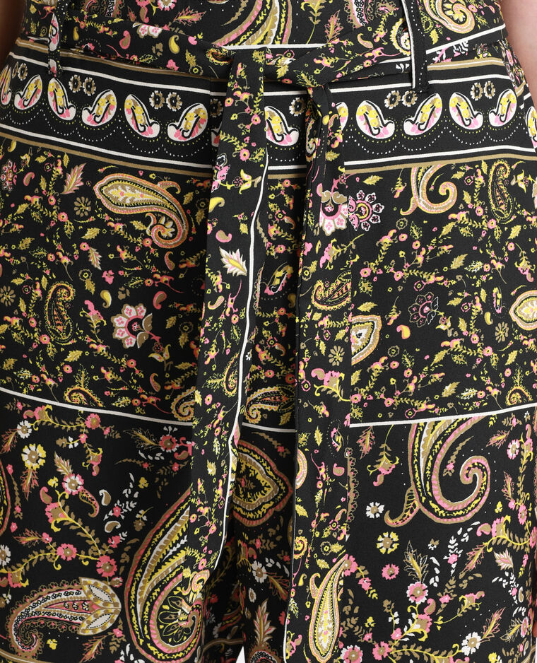 Pantalon large imprimé noir