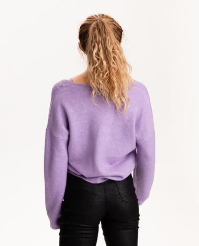 Pull col V torsadé violet