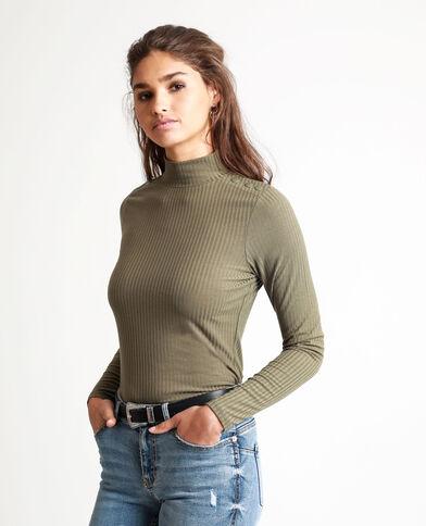 T-shirt côtelé vert