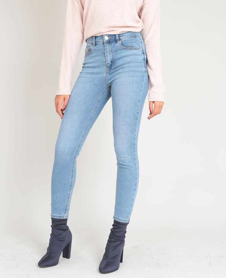 Skinny taille haute bleu