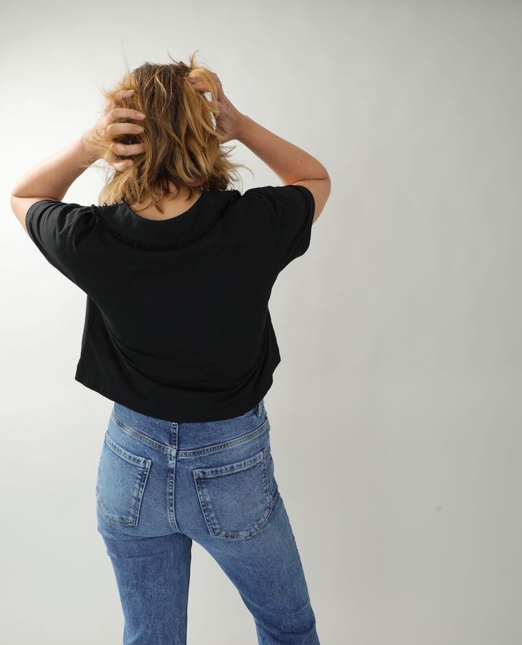 T-shirt à perles et strass noir - Pimkie