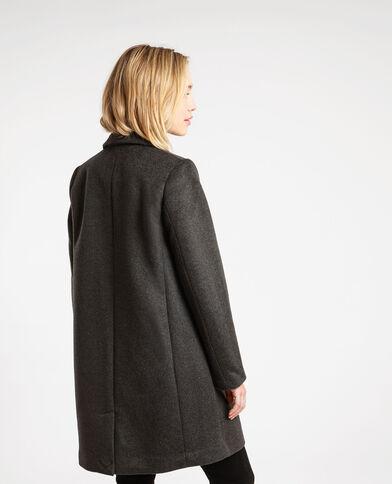 Manteau drap de laine droit gris anthracite