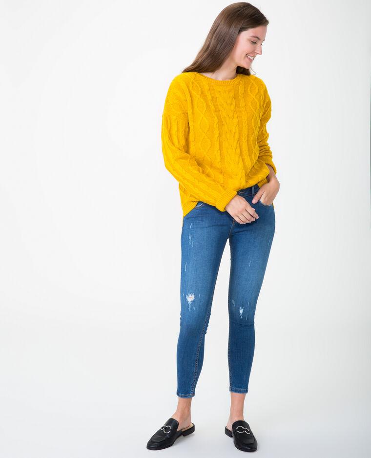 Pull torsadé jaune - Pimkie