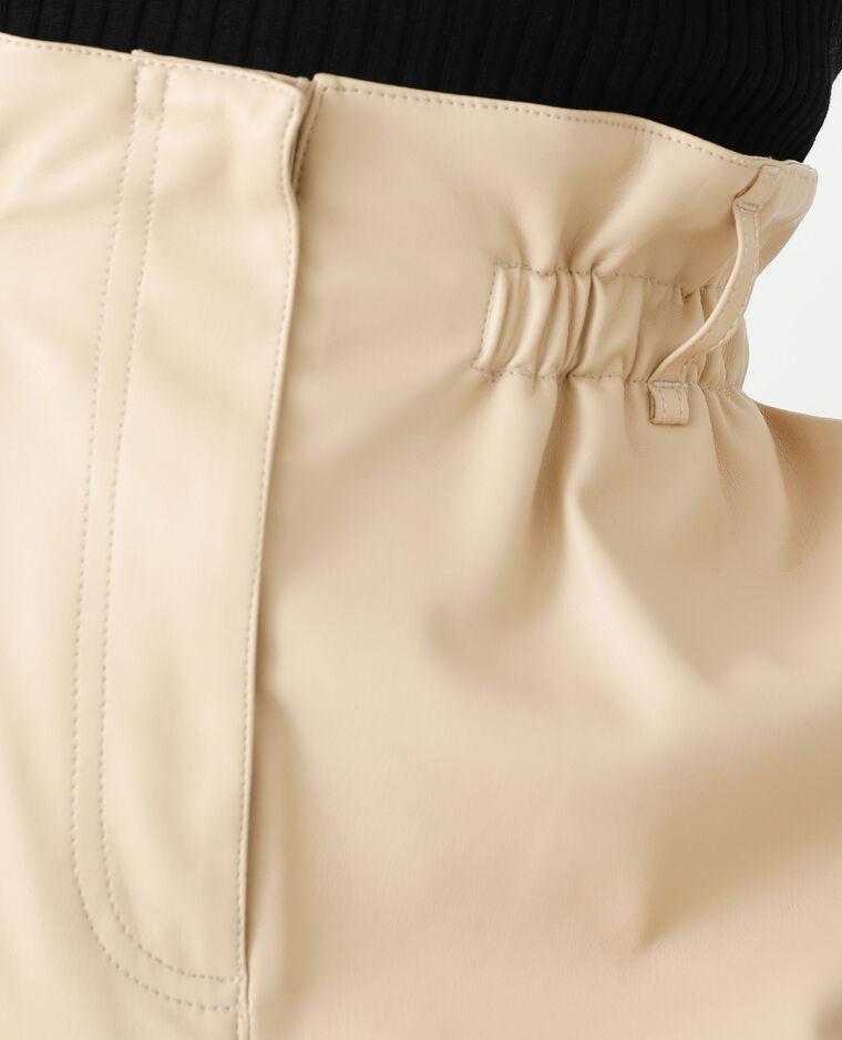 Short taille haute en simili cuir beige