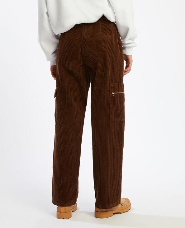 Pantalon large en velours côtelé marron - Pimkie