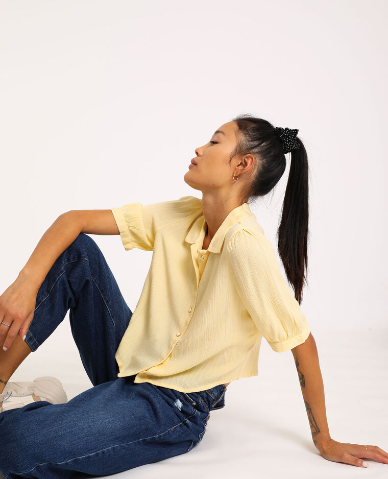 Chemise à manches courtes jaune