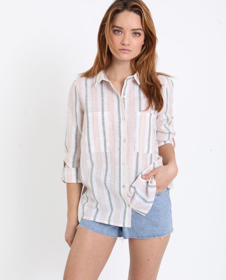 Chemise à rayures kaki