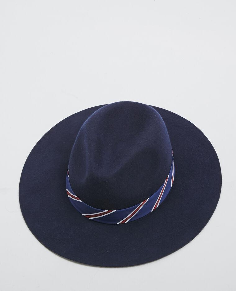 Fedora à rayures bleu marine