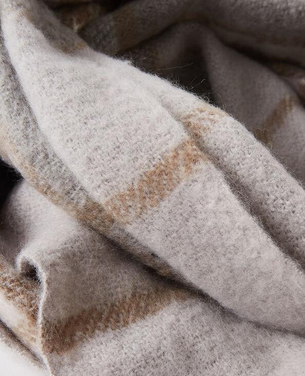 Echarpe à carreaux et franges gris - Pimkie
