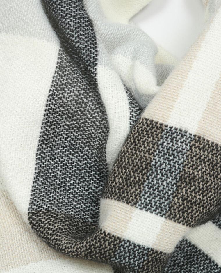 Echarpe plaid à carreaux blanc