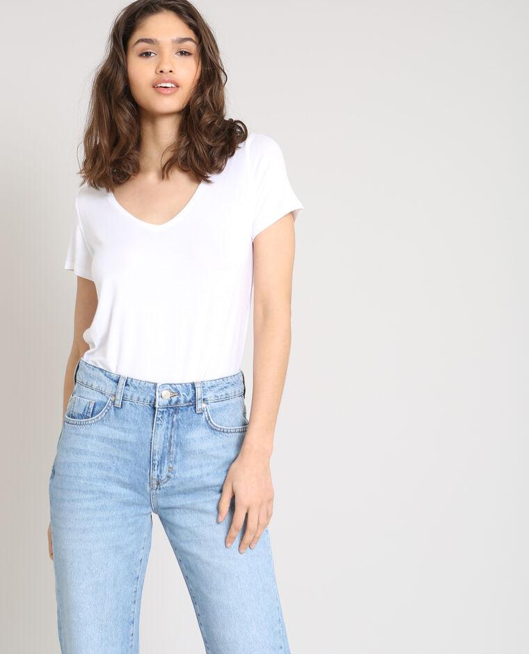 T-shirt col V blanc
