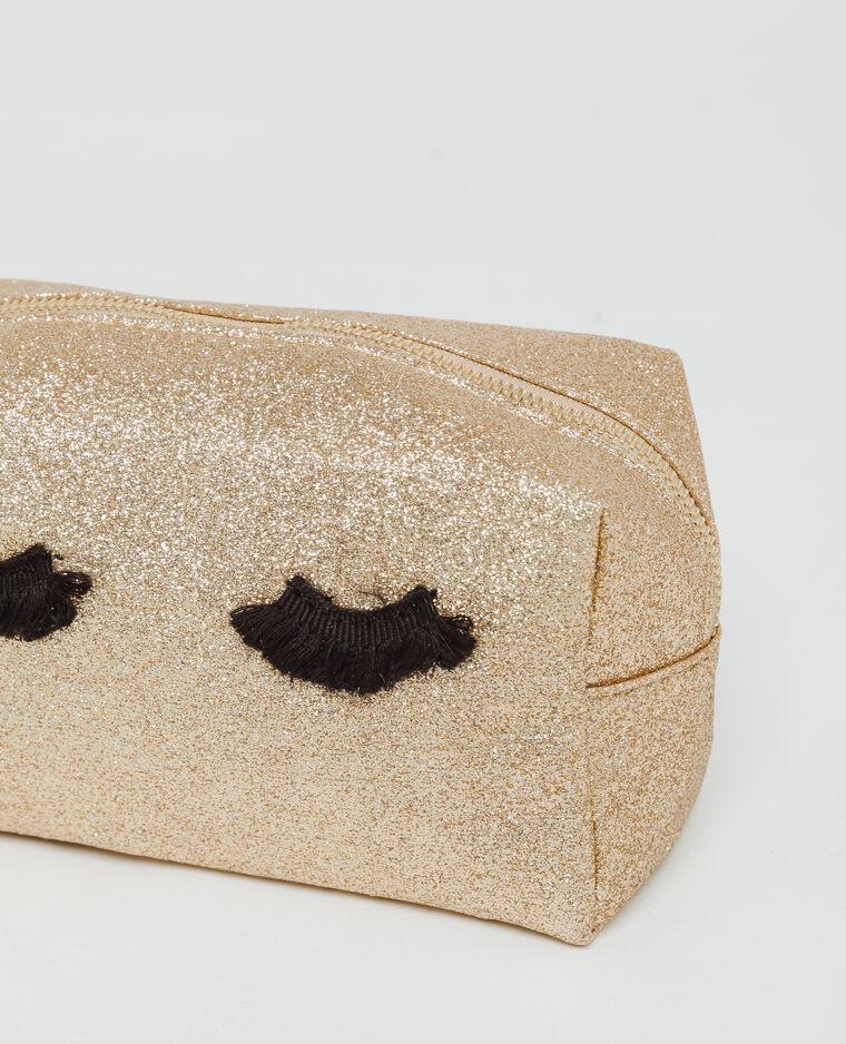 Trousse de maquillage glitter doré