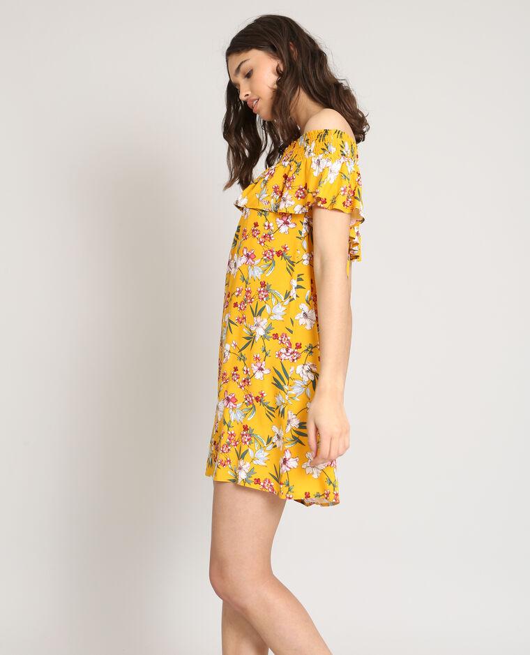 01b4c1c817e Robe col bardot fleurie jaune - 780880061E1A