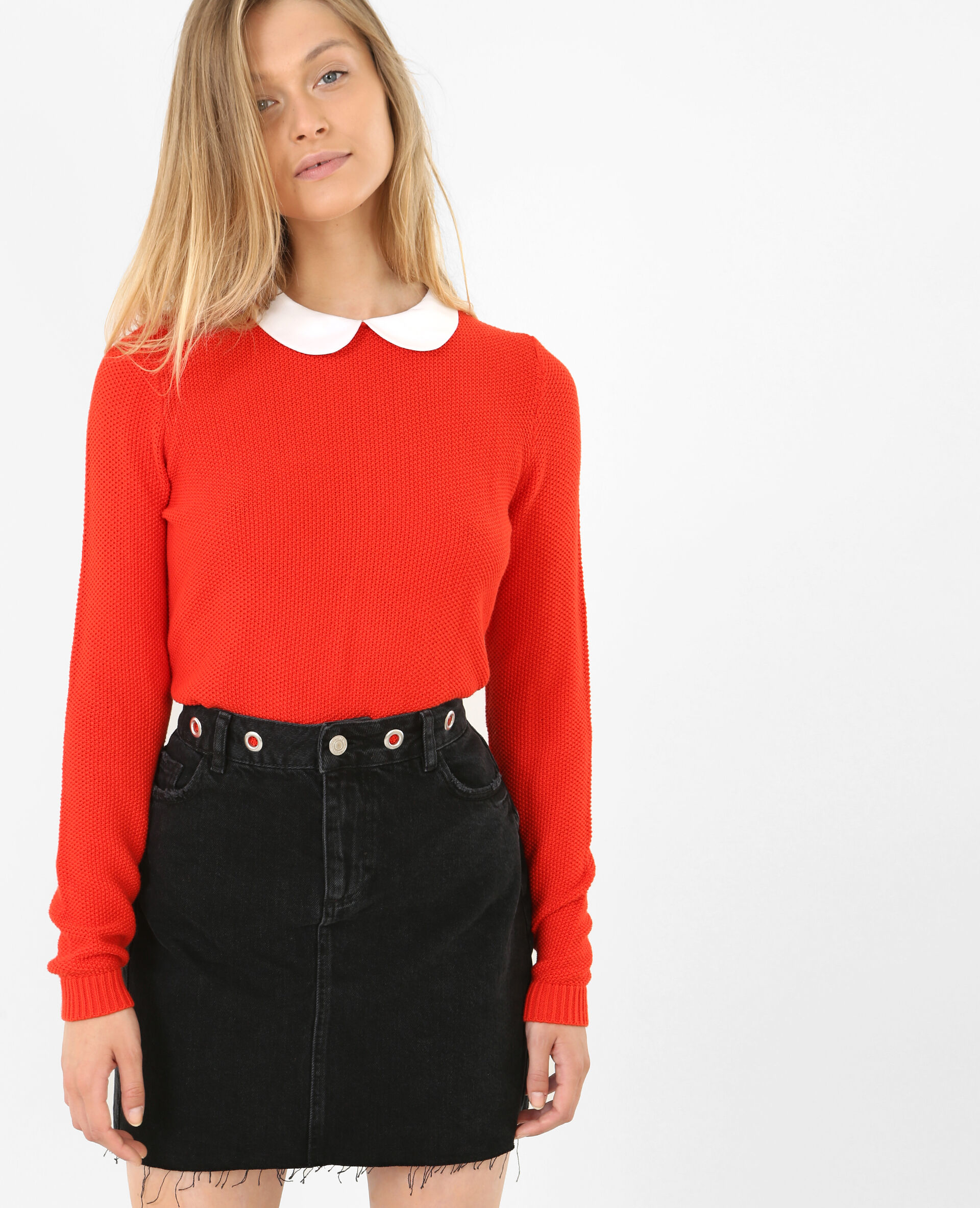 Pull col claudine rouge - 403254344A03 |