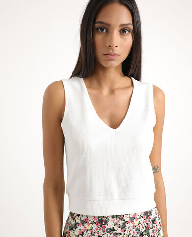 Cropped top sans manches blanc