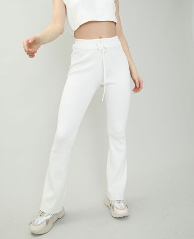 Pantalon tricot blanc cassé