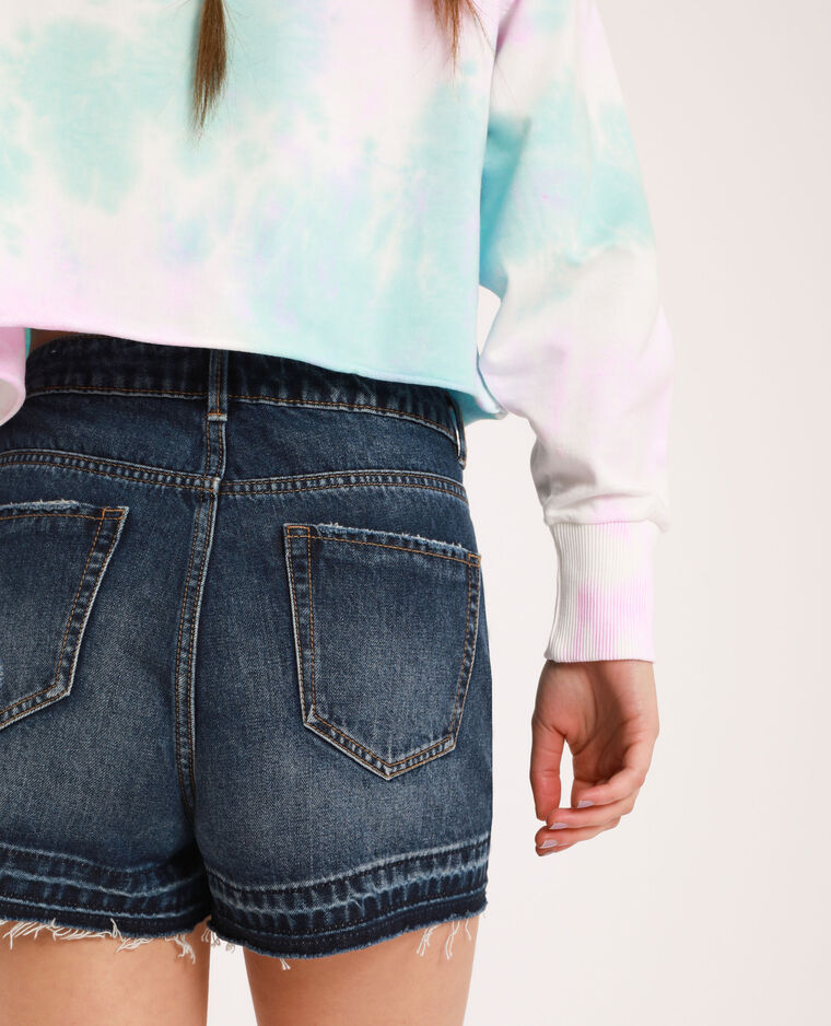 Short en jean raw cut bleu brut
