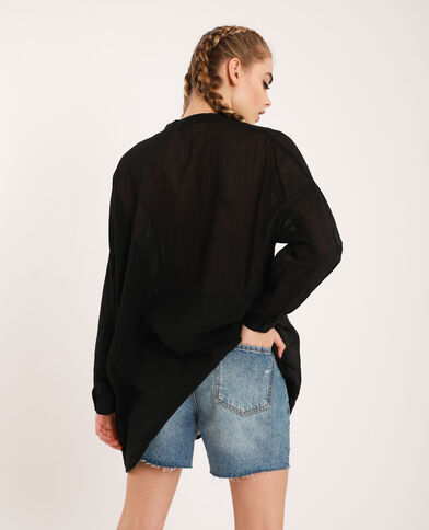 Chemise col mao noir