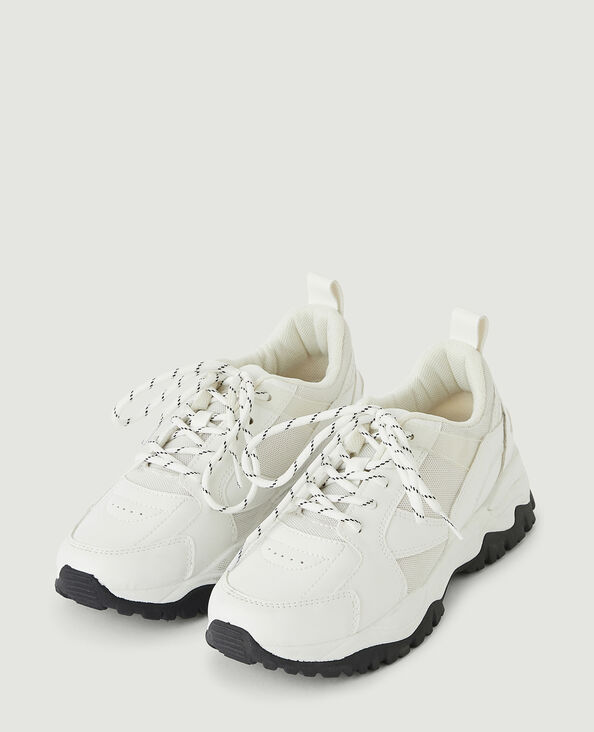 Baskets bimatières style running blanc - Pimkie
