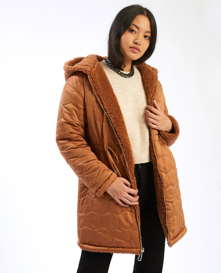 Manteau réversible à capuche marron - Pimkie