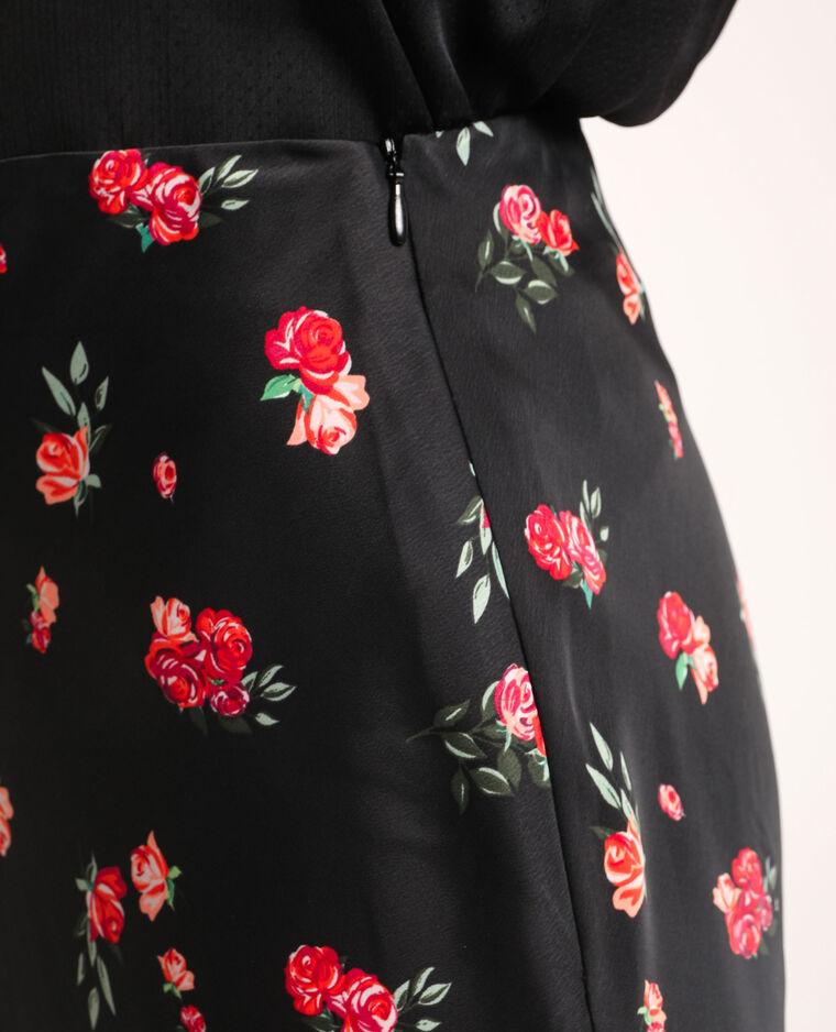 Jupe à fleurs noir