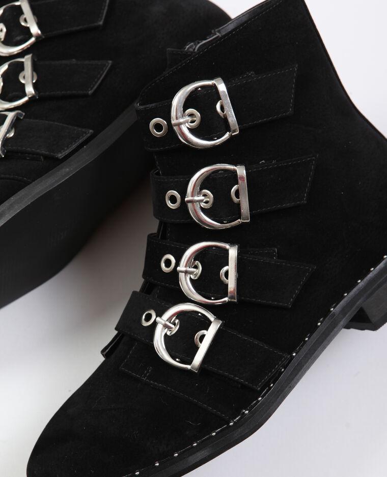 Bottines plates à boucles noir