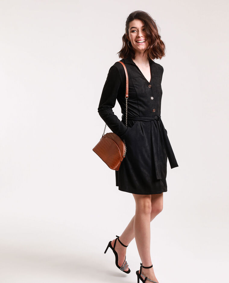 Robe chemise suédine noir - Pimkie
