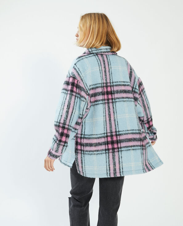 Surchemise à carreaux avec laine bleu - Pimkie