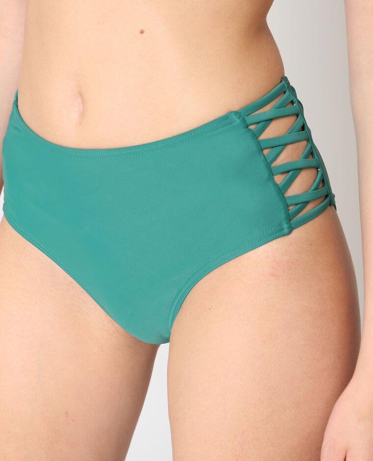 Bas de bikini taille haute vert sapin