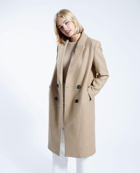 Manteau long avec laine camel - Pimkie
