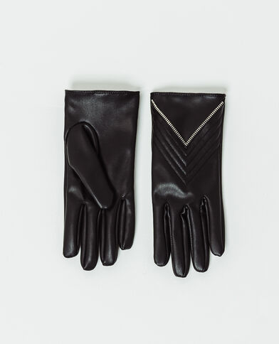 Gants en faux cuir noir