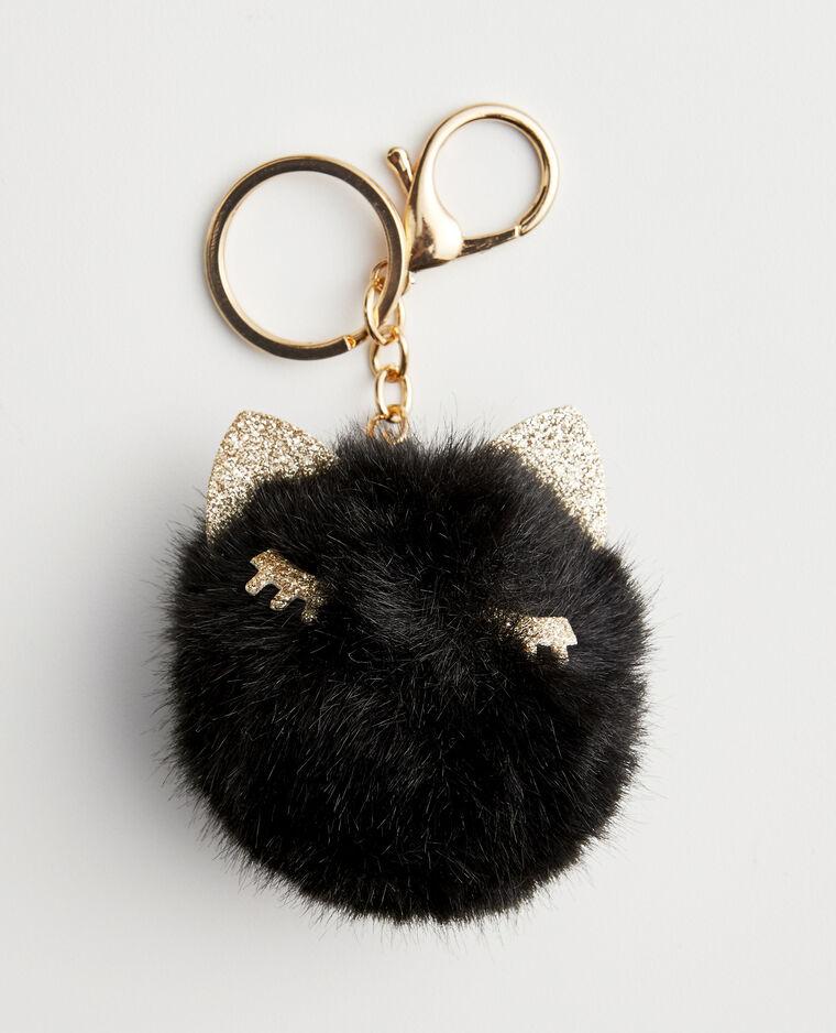 Porte-clés fausse fourrure noir