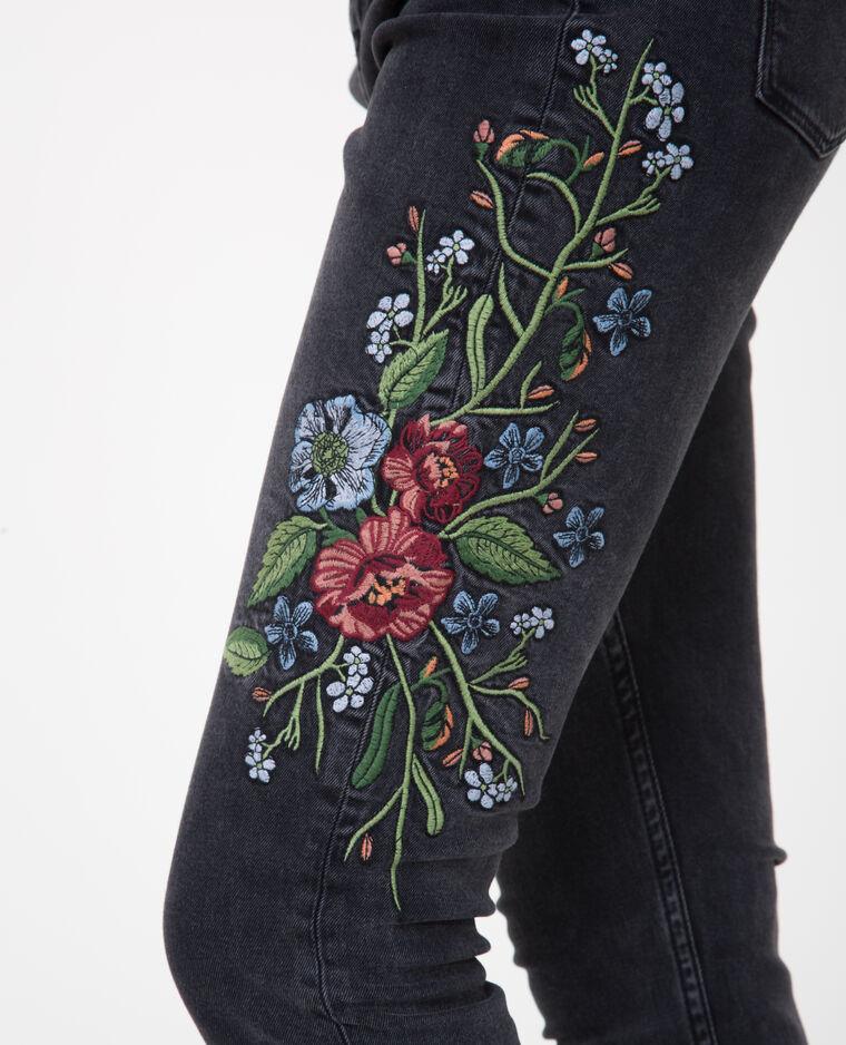 Jean skinny brodé noir - Pimkie