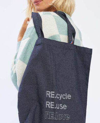 Tote bag 100% recyclé bleu denim - Pimkie